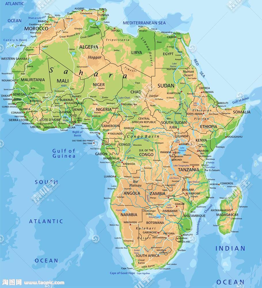 非洲大陆地图图片
