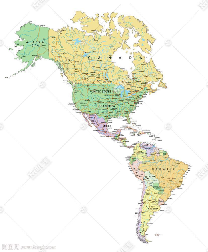 北美南美地图图片