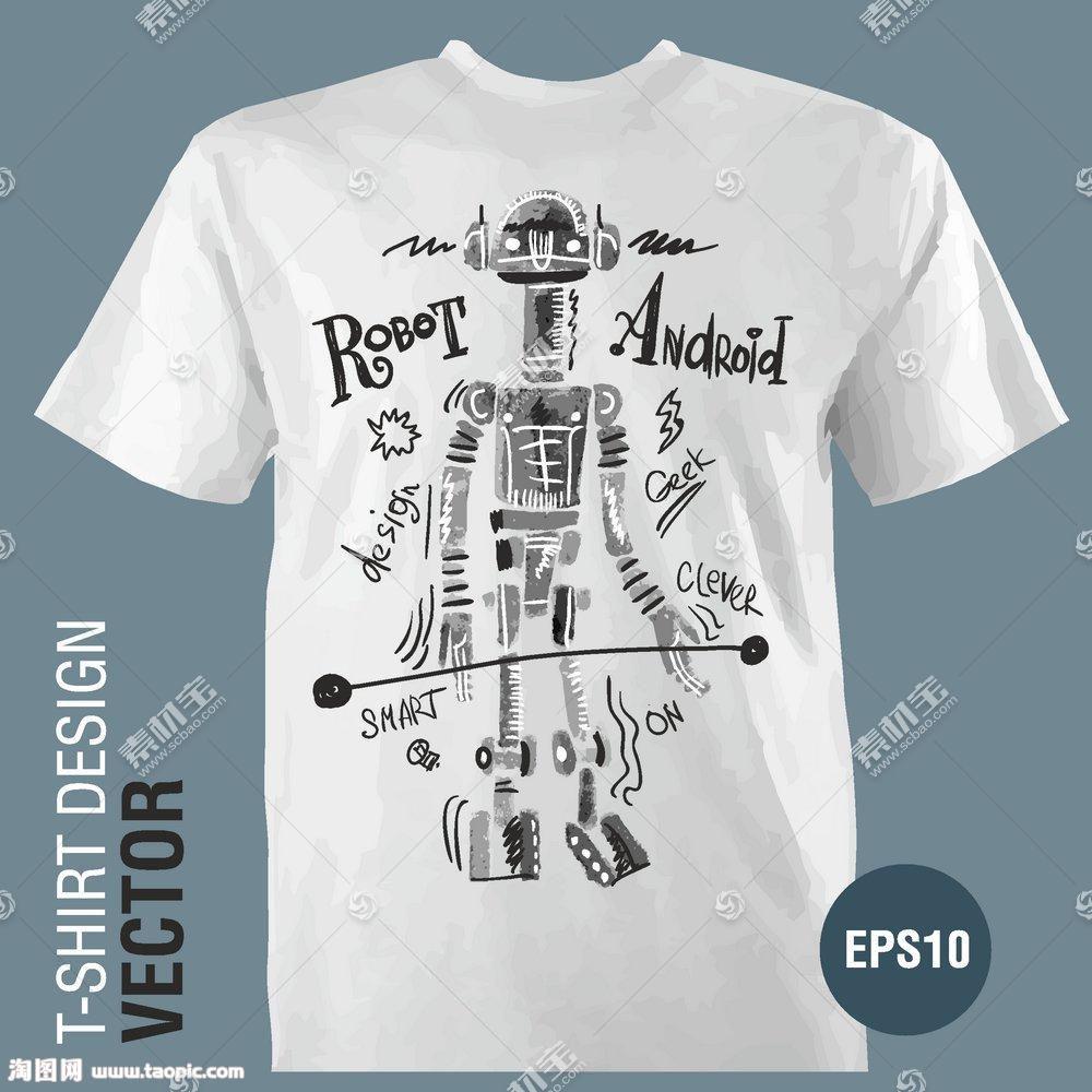 机器人英文字母T恤印花图案