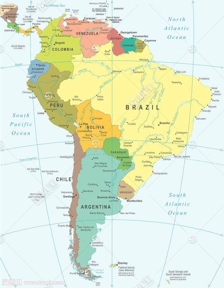 美洲地图图片