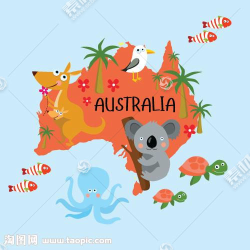 澳洲地图动物插画图片