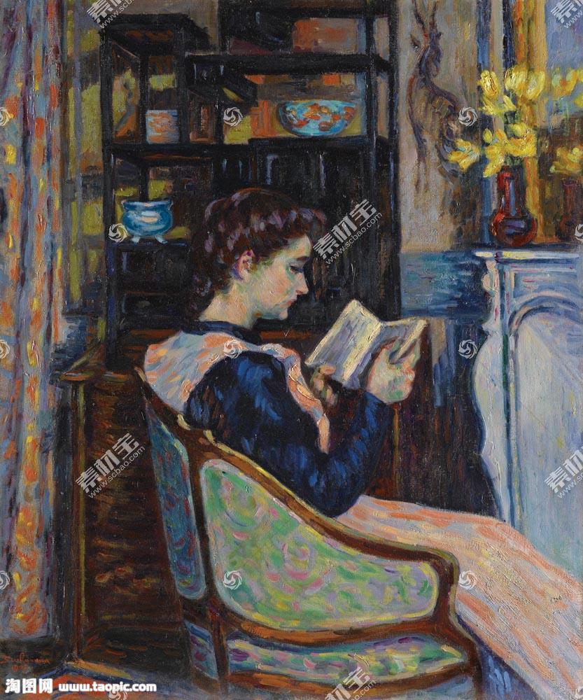 椅子上看书的女孩图片