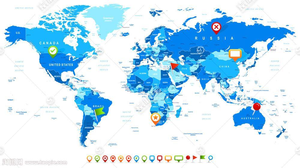 蓝色的世界地图图片