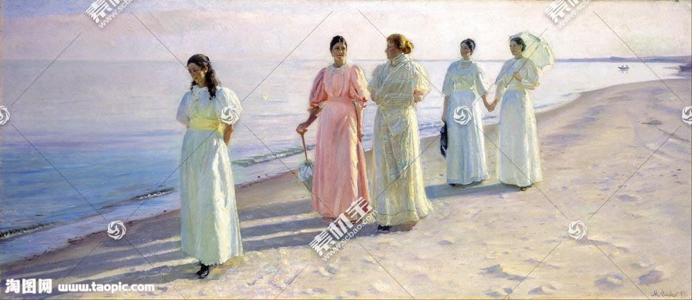 海边的女孩油画图片