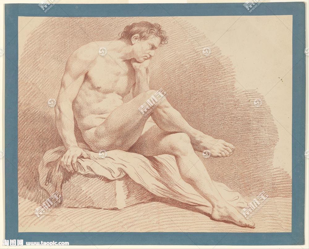 欧洲裸男素描