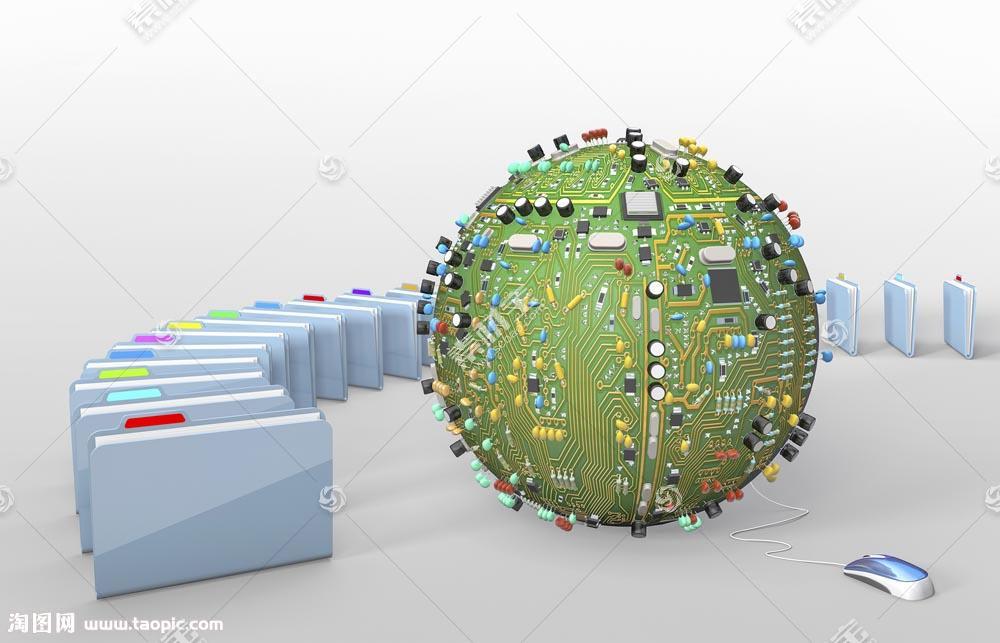 鼠标电路板地球和骨牌