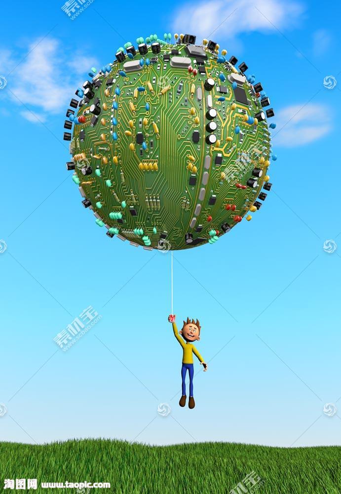 拉着电路板地球飞起来的男孩