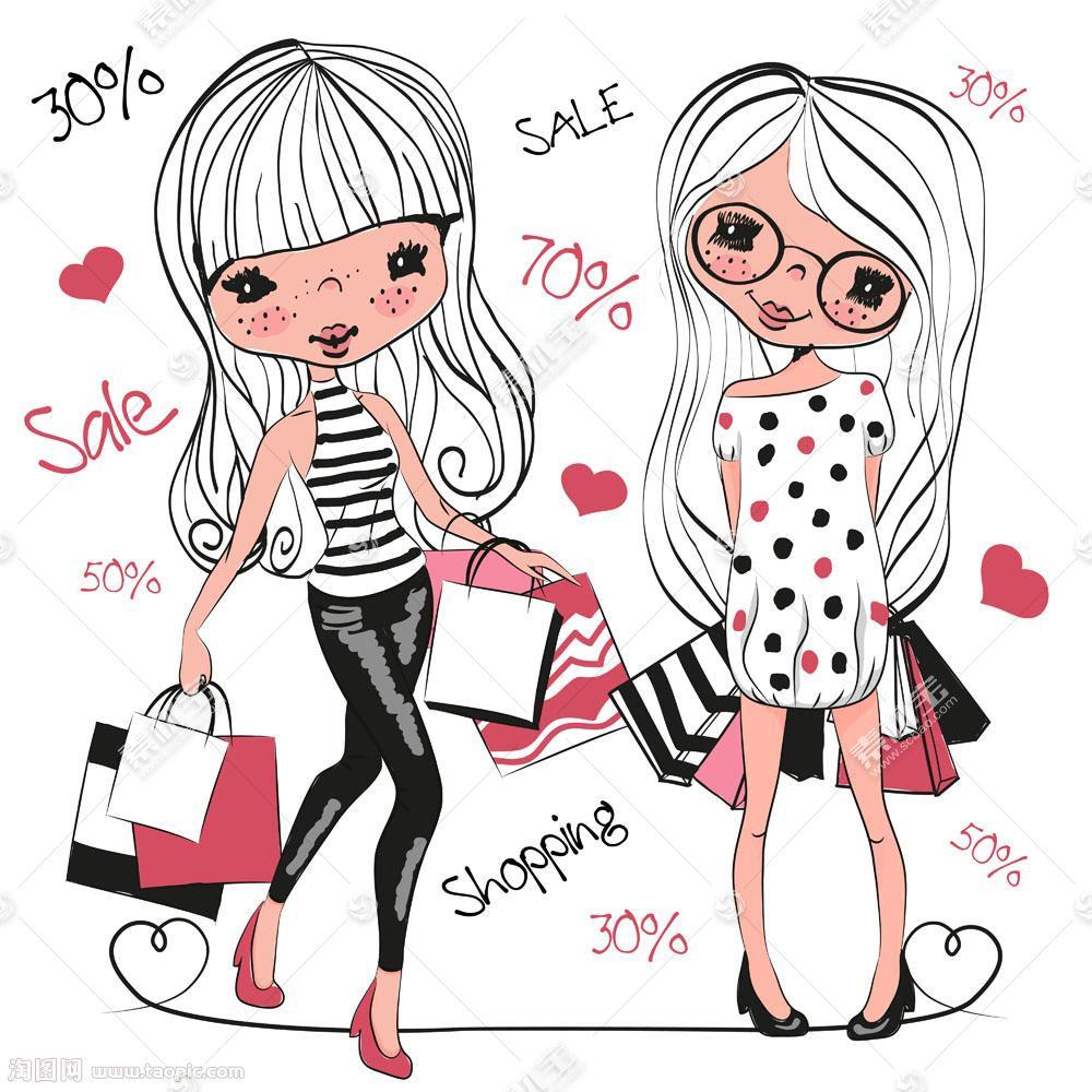 购物的卡通美女图片