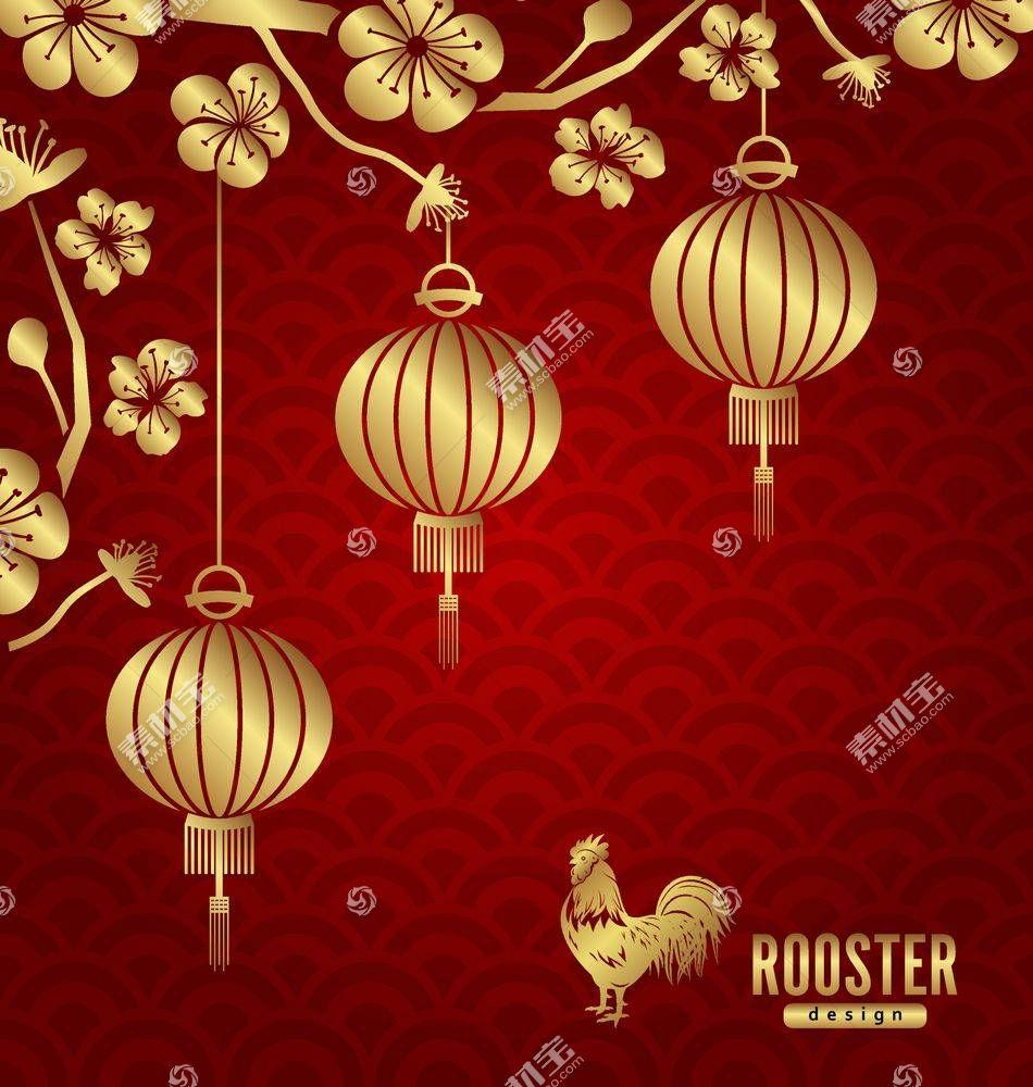 红色新年背景设计