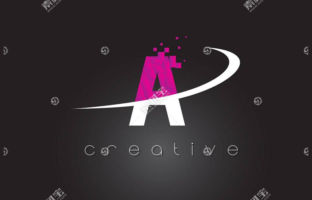 彩色英文字母A设计