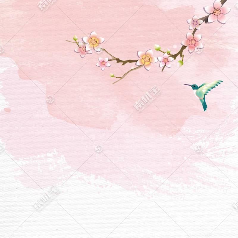 梅花与飞鸟中国风背景