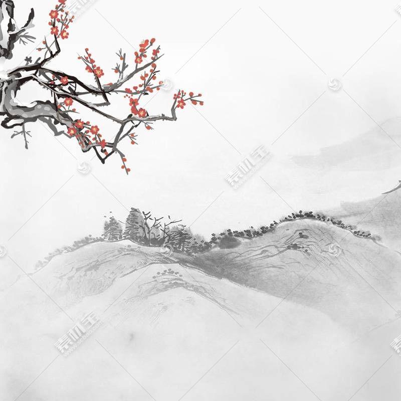山峰梅花中国风背景