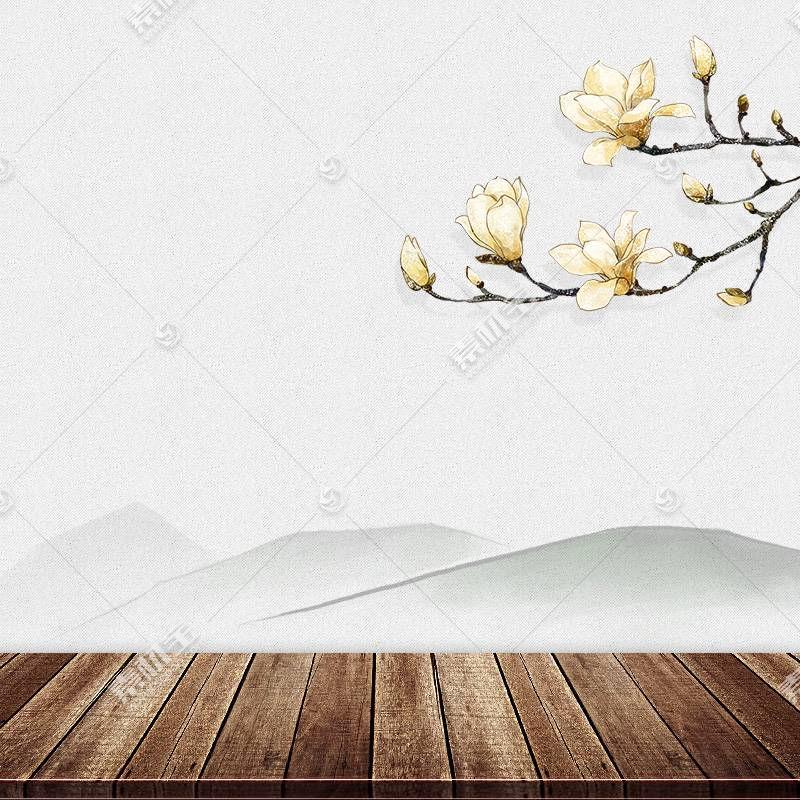 梅花与木质地板中国风背景