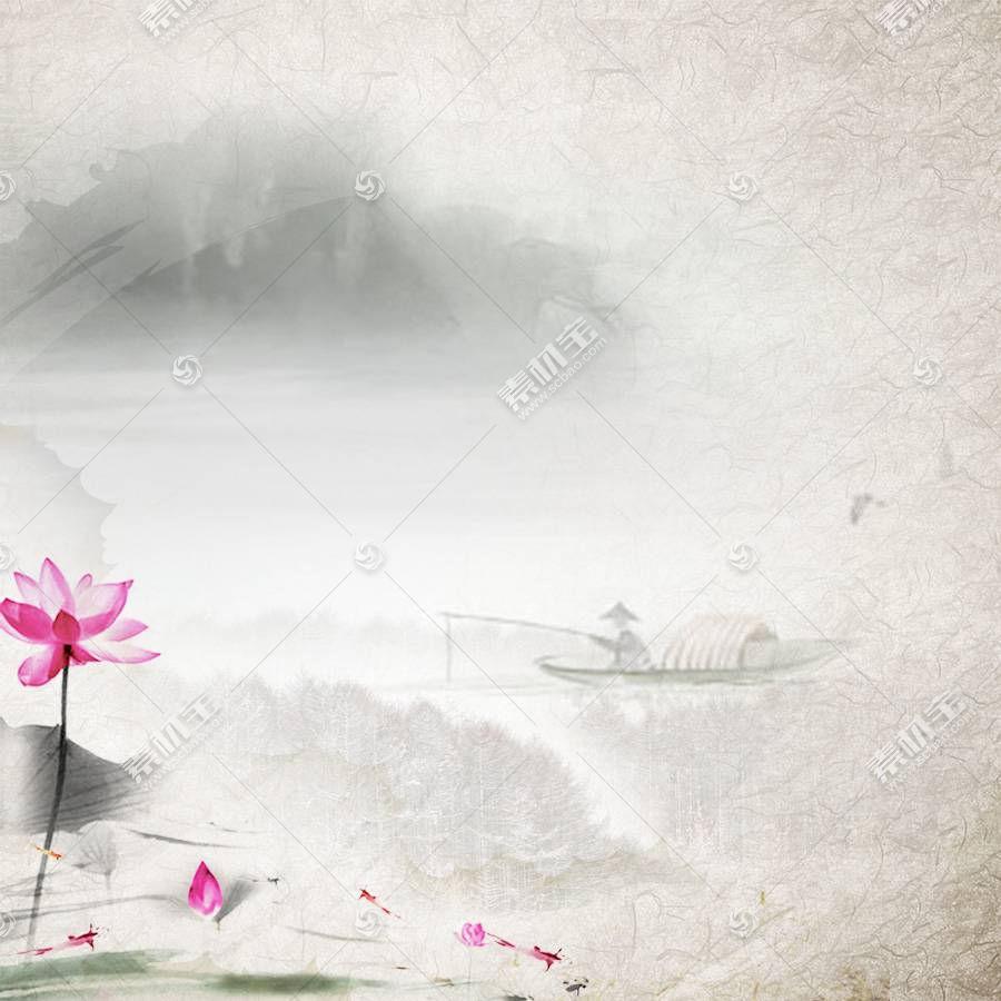荷花渔翁水墨中国风背景