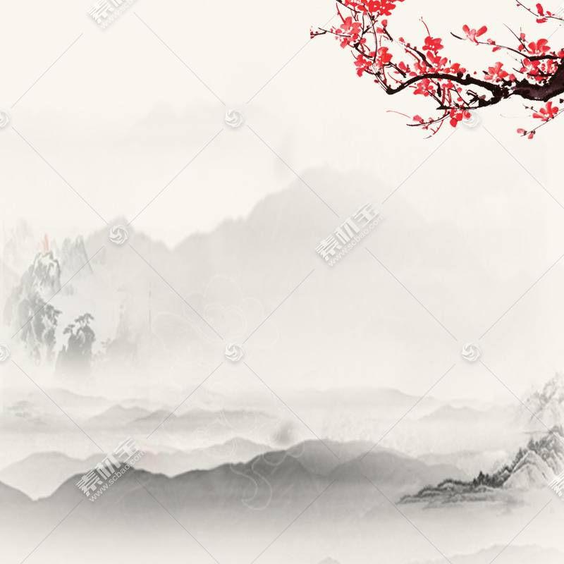 梅花山峰水墨画背景