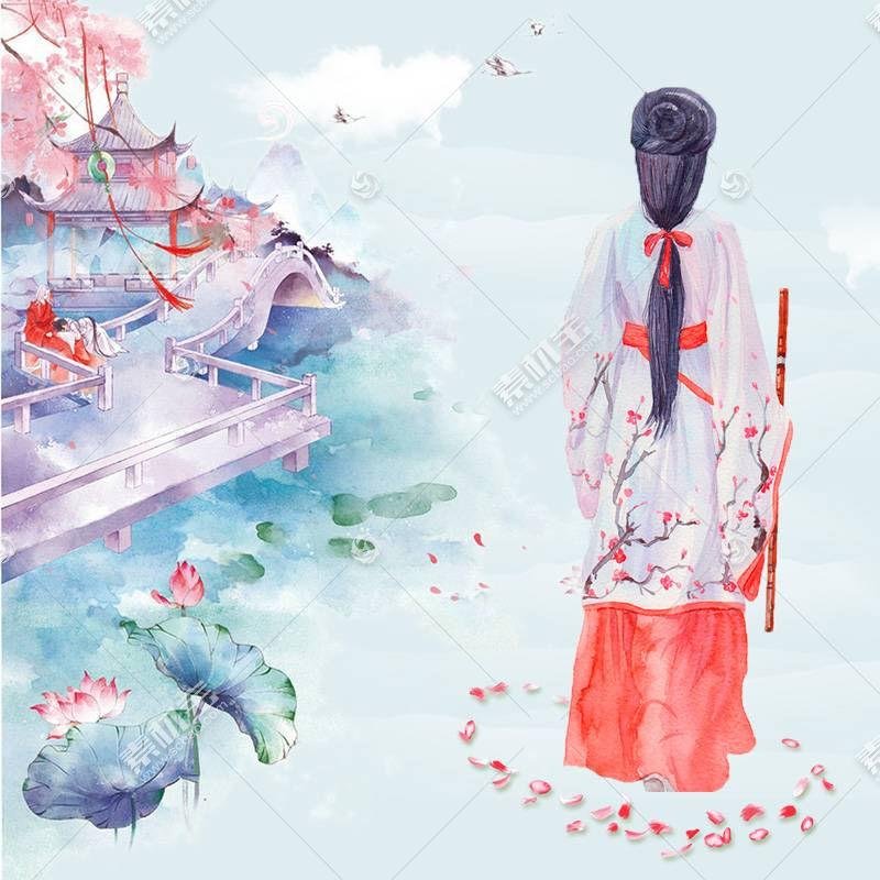 古典美女背影中国风背景