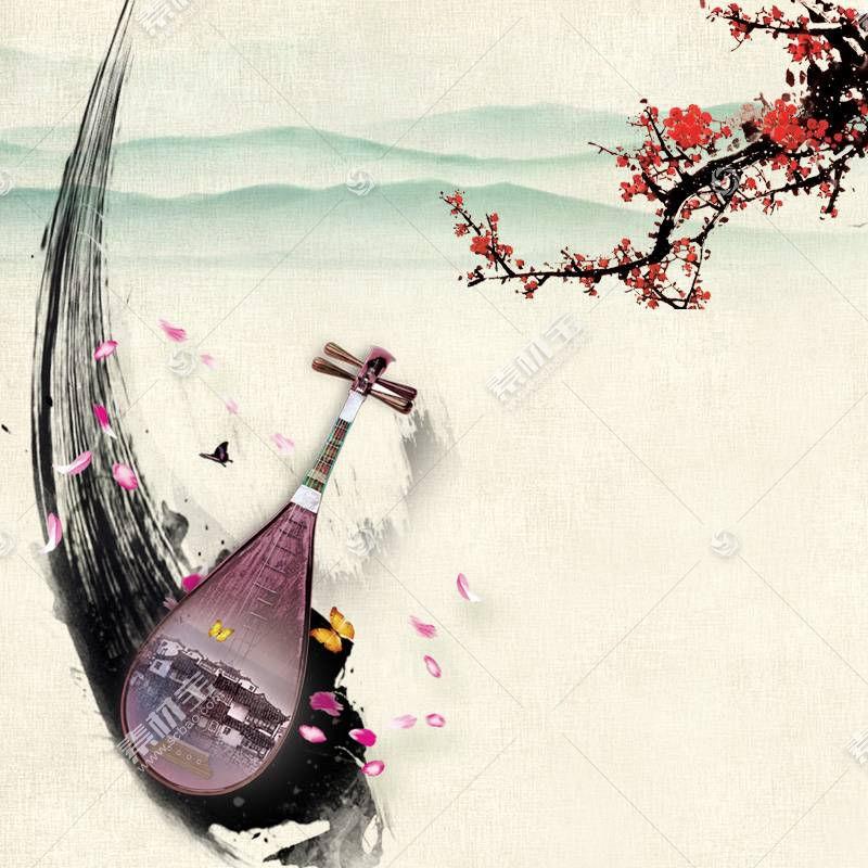 古筝与水墨梅花中国风背景
