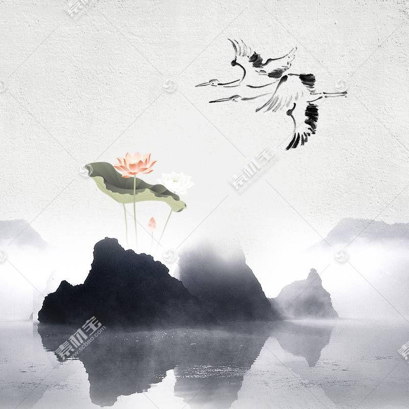 荷花山峰飞鹤中国风背景