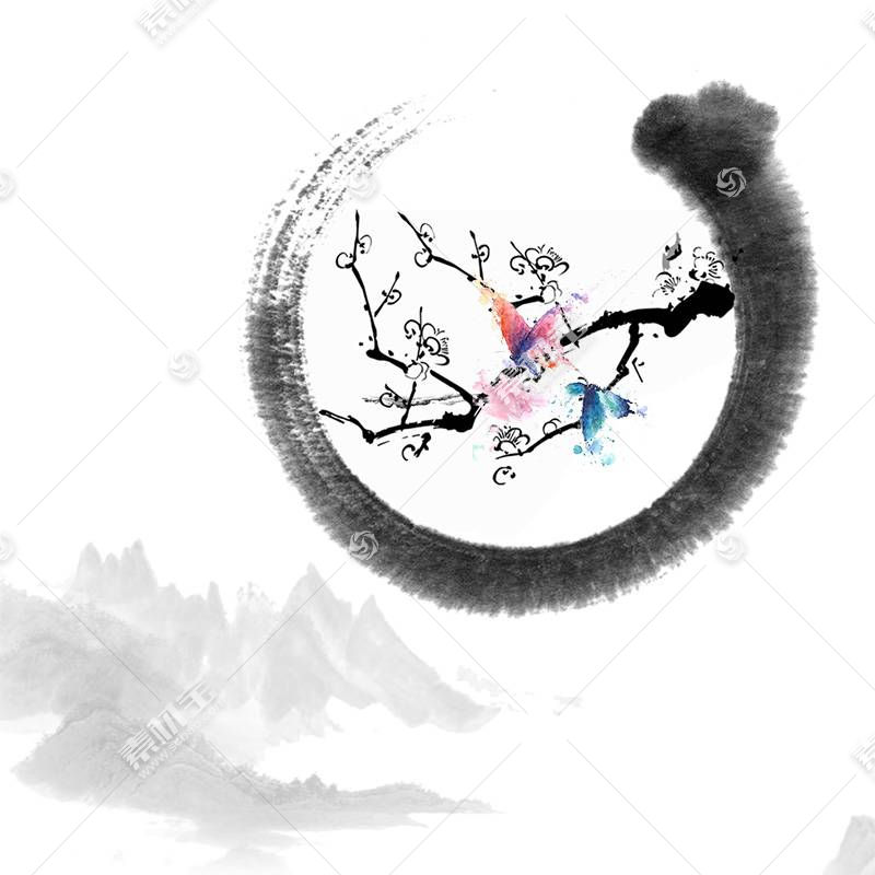 水墨梅花中国风背景